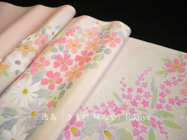 徳島 きもの婦久や (ふくや) です。【逸品 付け下げ  ピンク地 ぼかし 花 流水 】ほか,披露宴 結婚式参列着物 パーティの着物 入学式の着物 卒業式の着物 お茶席の着物 など素敵な呉服を販売しております。tokushima kimono fukuya