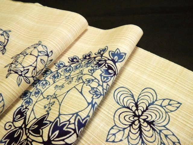 徳島 着物 浴衣 婦久や ふくや 綿紬・ベージュ地に紺ぼかし花丸 おすすめ紬ゆかた