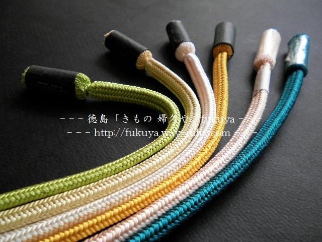 和小物さくらのおしゃれな春色の帯締め、徳島市の呉服店「婦久や」にて