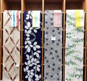 竺仙浴衣 綿絽 白地に万寿菊