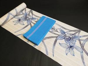 刷毛紬 木綿 浴衣 蘭 tokusima yukata